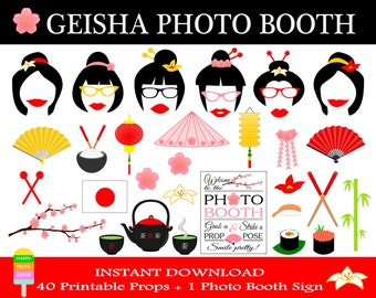 PRINTABLE Geisha Photo Booth Props–Japan Travel Props-Japanese Photo Booth Props-Japan,Asia,Geisha,Bridal Shower Props-Instant Download