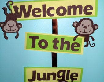 monkey welcome sign etsy. Black Bedroom Furniture Sets. Home Design Ideas