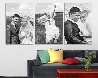 Canvas Cluster Wedding Anniversary Gift for Couples from Photos, Print on Canvas,  3- Panel Canvas Wall Art, Room Decoration Photo gift