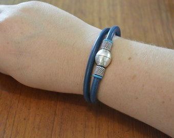 Blue Leather Double Wrapped Leather Silver Magnet Bracelet/Choker