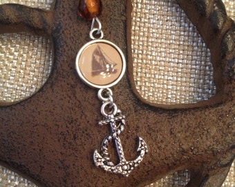 Sailboat with Anchor chain necklace