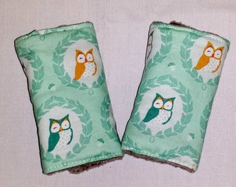 Reversible Infant Car Seat Strap Covers - Owls and Gray