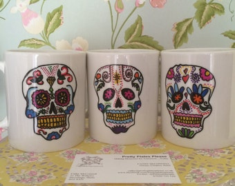 Day of the Dead Skull Hand Painted Mug