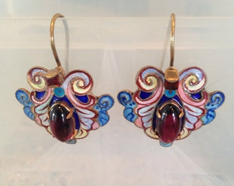 Art Noveau style vintage Garnet and enameled pierced earrings
