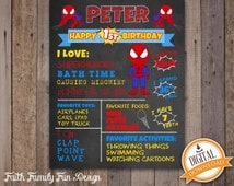First Birthday Chalkboard Spiderman Superhero Poster. Boy 1st Birthday Chalk Board Custom Printable. Milestone Sign. Superheroes Party Decor