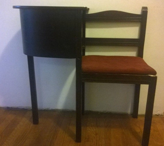 Vintage 1950s Telephone Table With Attached Chair