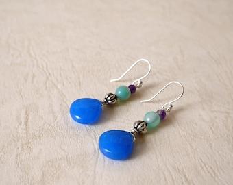 Teardrop Shaped Jade, Amethyst, Silver Plated Earring Wires/ Clip On Earrings