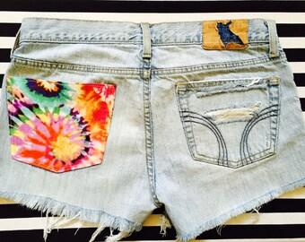Tie Dye Low Rise Cut Off Shorts, Teen Cut Off Shorts, Tie Dye, Low Rise Shorts