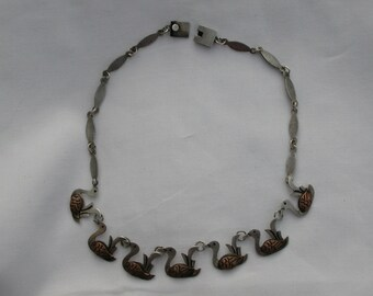 Vtg 1950's Felipe Martinez Sterling Copper mixed Metals Ducks Necklace Taxco Mexico Silver