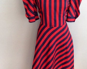 1970s Ms. Sugar Red and Black Striped Dress