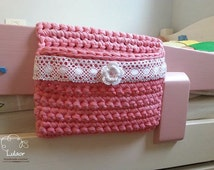 Crochet bed organizer ,bed storage pocket , pouch, case,caddy ,bag , for baby and children's bed rail.