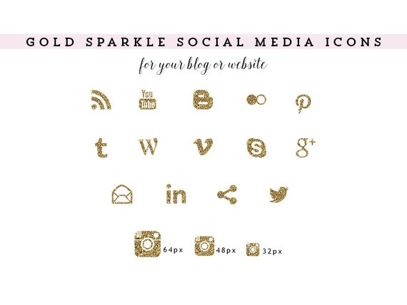 items similar to glitter sparkly gold social media icons