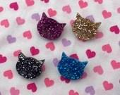 Glittery Kitty Cat Acrylic Stud Earrings
