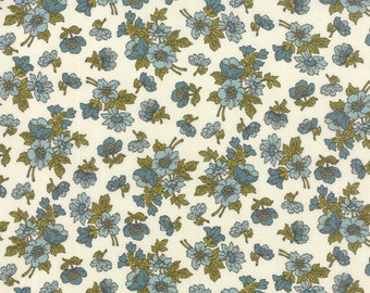 Nomad Fabric from Urban Chiks for Moda Fabrics.  Floral Wildflower in Bone and Sky, Cream and Blue.
