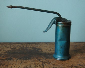 Vintage Metal Eagle Pump Oil Can 1960s Metal Turquoise Can