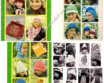 Patons - Hats Scarves & Bags Knit and Crochet PDF Pattern Book Beehive #404