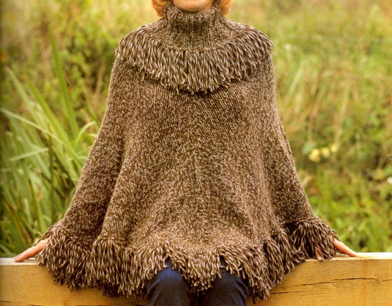 Knitting PDF pattern retro Poncho knit pattern
