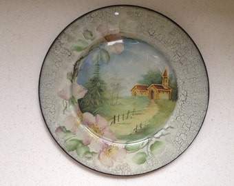 "Handmade Decoupage Glass Plate ""Road to the Home"", Home decor, Table decor, Gift ideas"