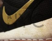 """Nike Roshe Run Black White """"GOLDEN DAY"""" (Gold swooshes w/ gold speckle midsole) Custom Men & Women"""