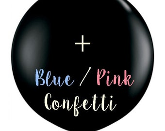 36 inch giant gender reveal black balloon with pink or blue confetti! Gender reveal balloon