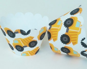 Cupcake Wrapper Orange Dump Truck For Birthday Celebration, Construction Themed Baby Shower