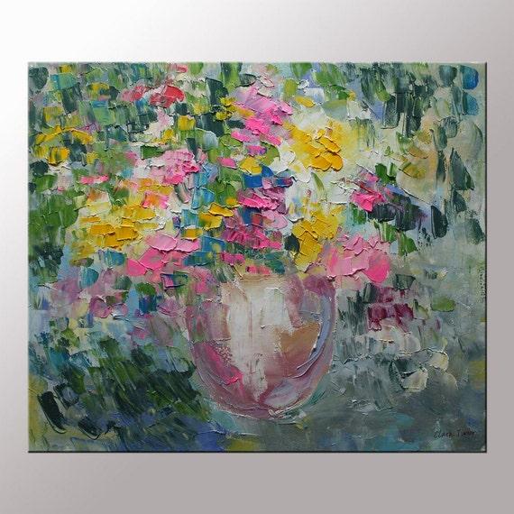 Fleurs de printemps peinture couteau moderne nature morte - Peinture a l huile moderne ...