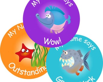 140 Personalised Sea Animal themed Teacher Reward Stickers