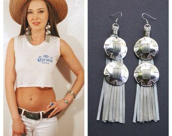 Concho earrings. Leather fringe earrings. Fringe earrings. Silver conchos. Western jewelry. Witchy woman. Southwest jewelry. Concho jewelry