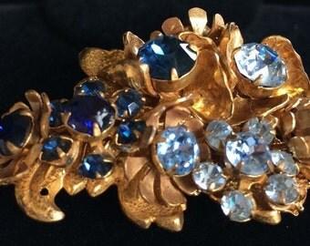Beautiful Rare Vintage Miriam Haskell Brooch Pin~Blue Rhinestones/Goldtone Filigree~Horseshoe Mark