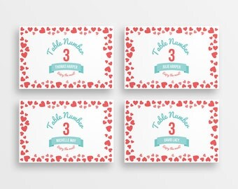 50 Ombre hearts wedding tent cards - printable name cards - DIY wedding place cards
