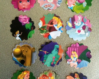Alice in Wonderland cupcake topper #3 or part tags Disney up-cycled book