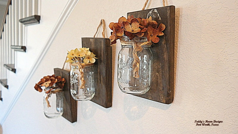Mason Jar Wall Decor Mothers Day Gift Wood Country By Teddysroom
