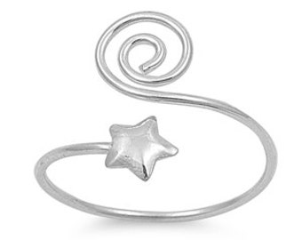 Rebirth & Star Wiccan Adjustable Size Ring 12MM Sterling Silver 925
