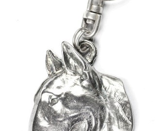 NEW, Bullterrier (flat medallion), dog keyring, key holder, limited edition, ArtDog