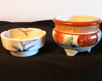 Two Porcelain Dishes, Asian Painted Trinket Dish and Planter, Footed Planter, Sauce Dipping Bowl