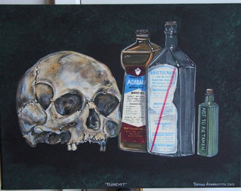 "Planchet Acrylic on canvas 12"" x 16"" Original, painted from my collection of skulls, poison bottles and embalming bottles."
