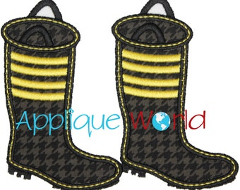 Firefighter Boots Applique Embroidery