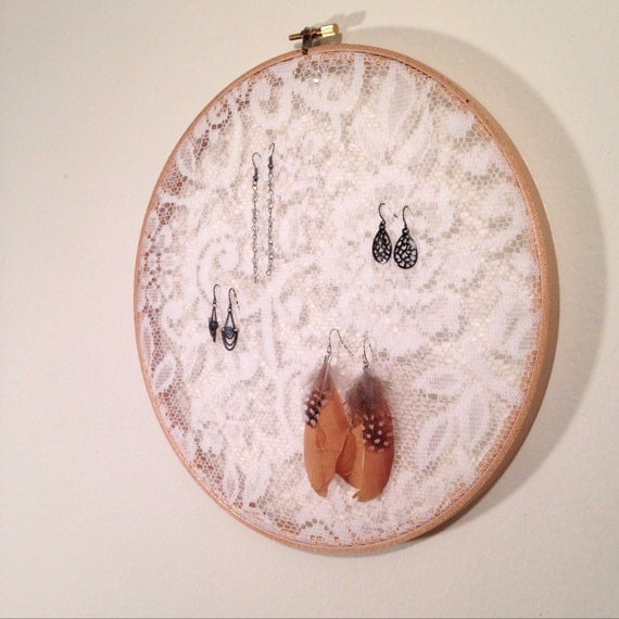 Displayed In This Embroidery Hoop Is A Fantastic: Lace Jewelry Display 6 Embroidery Hoop Earring