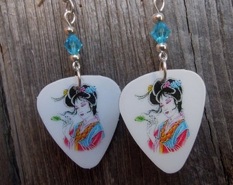 Pink and Blue Geisha Guitar Pick Earrings with Swarovski Crystals