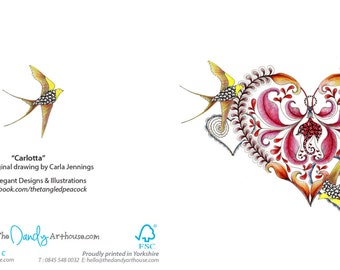 Greeting card blank. Art card of flying swallows and heart artwork