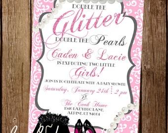 Glitter & Pearls Baby Shower Invite