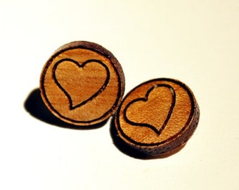 Wooden Earrings, Heart, Whimsical, Post Earring, Great for younger girls, Natural Wood,