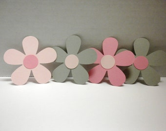 50 Die Cut Pink and Gray Daisies-Baby Girl Shower Flowers, Pink Daisies, Gray Daisies,Die Cut D-aisiesDCF-20