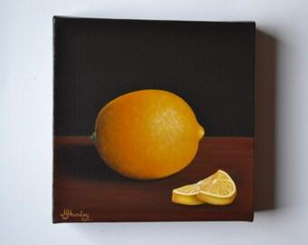 Original 6x6' acrylic realistic still life painting, lemon painting, fruit painting, kitchen painting, kitchen art, kitchen miniature