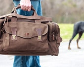 Set of 6 Personalized Groomsmen Gift Military Style Weekend Travel Duffel Bag Canvas Long Weekender
