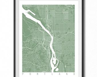 Portland Map Art Print / Oregon Poster / Portland Wall Art Decor / Choose Size and Color