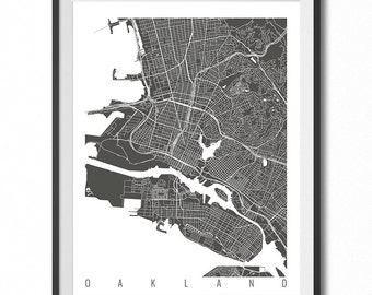 OAKLAND Map Art Print / California Poster / Oakland Wall Art Decor / Choose Size and Color