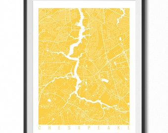CHESAPEAKE Map Art Print / Virginia Poster / Chesapeake Wall Art Decor / Choose Size and Color