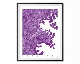 YOKOHAMA Map Art Print / Japan Poster / Yokohama Wall Art Decor / Choose Size and Color