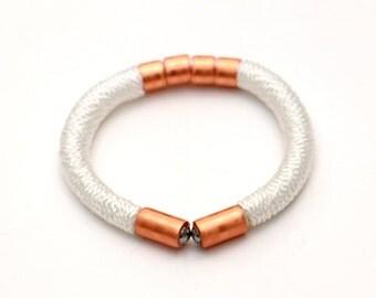 White Rope Bracelet, Copper Bracelet, Textile Bracelet, Cord Bracelet, Copper Jewelry, Cord Jewelry, White Fabric Bracelet, Rope Jewelry